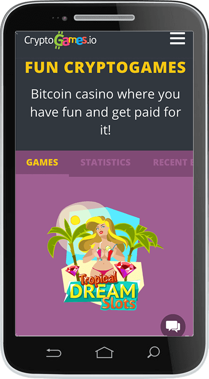 CryptoGames.io Casino on Mobile