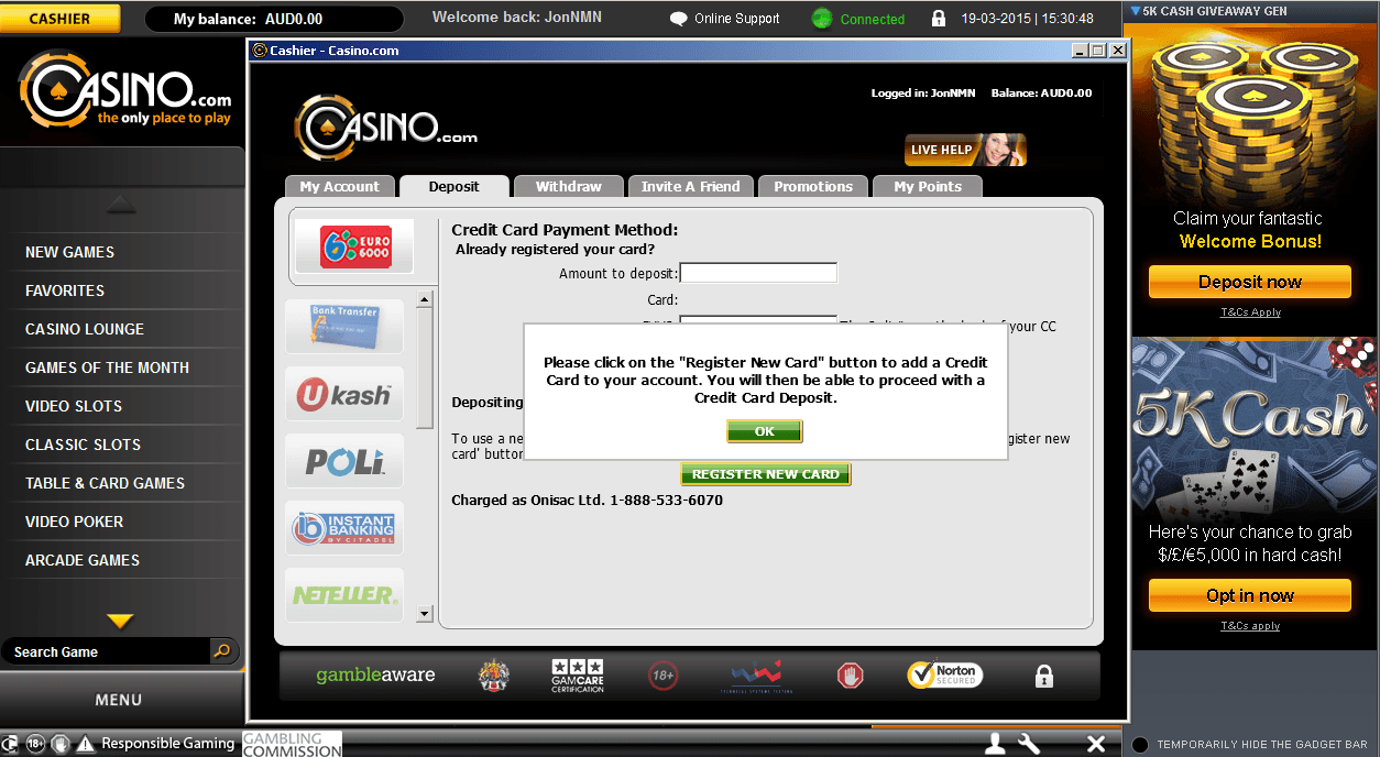 Click on the Deposit option in the casino cashier and choose your method