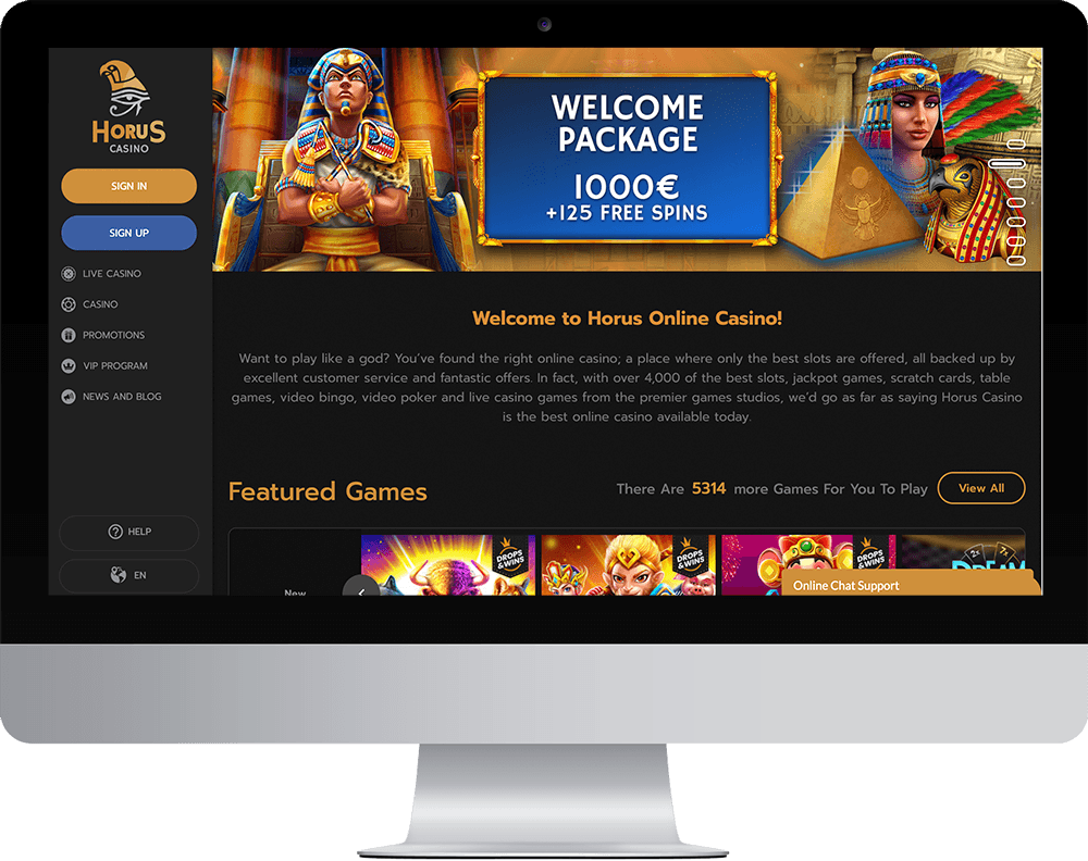 Horus Casino on desktop