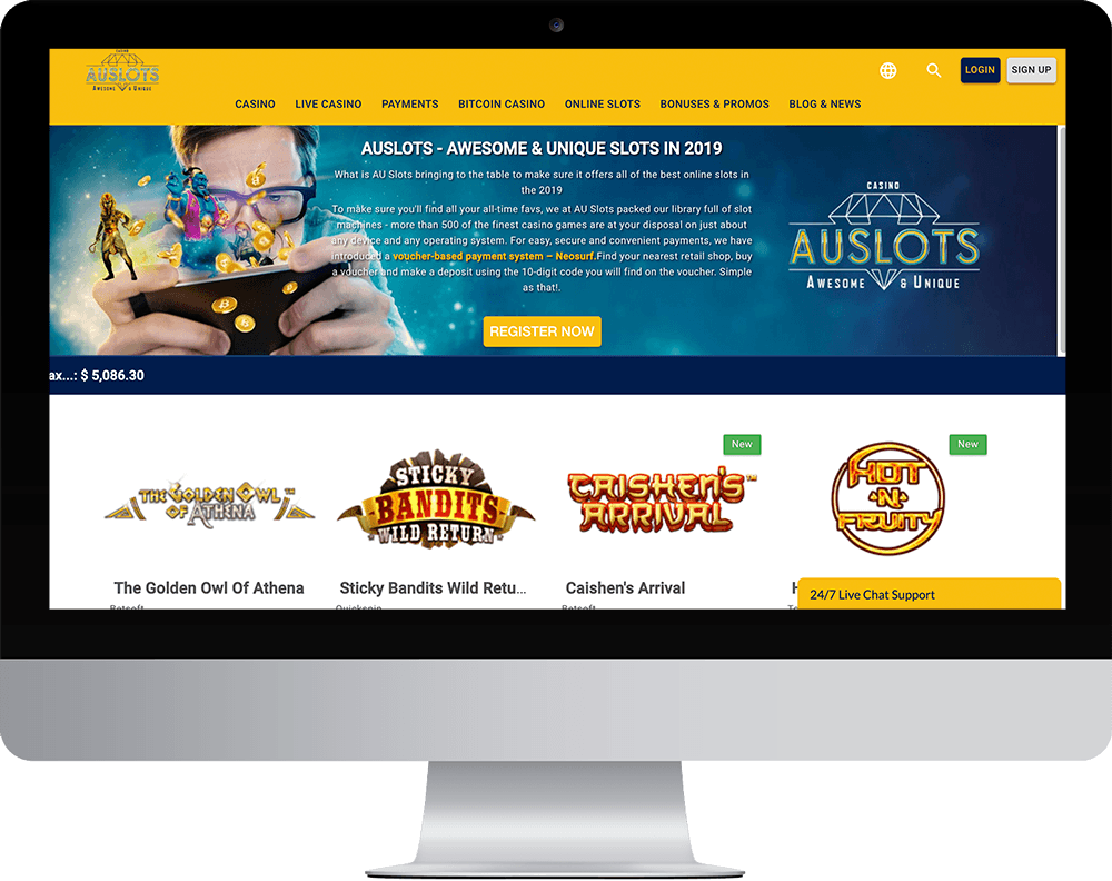 AU Slots Casino on desktop