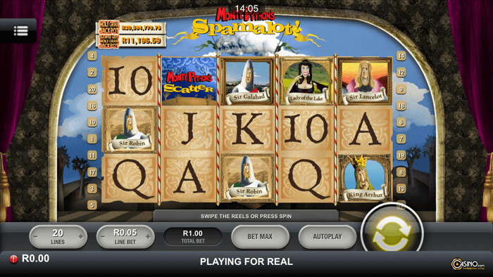 Play Monthy Python Spamalot slot on Android devices