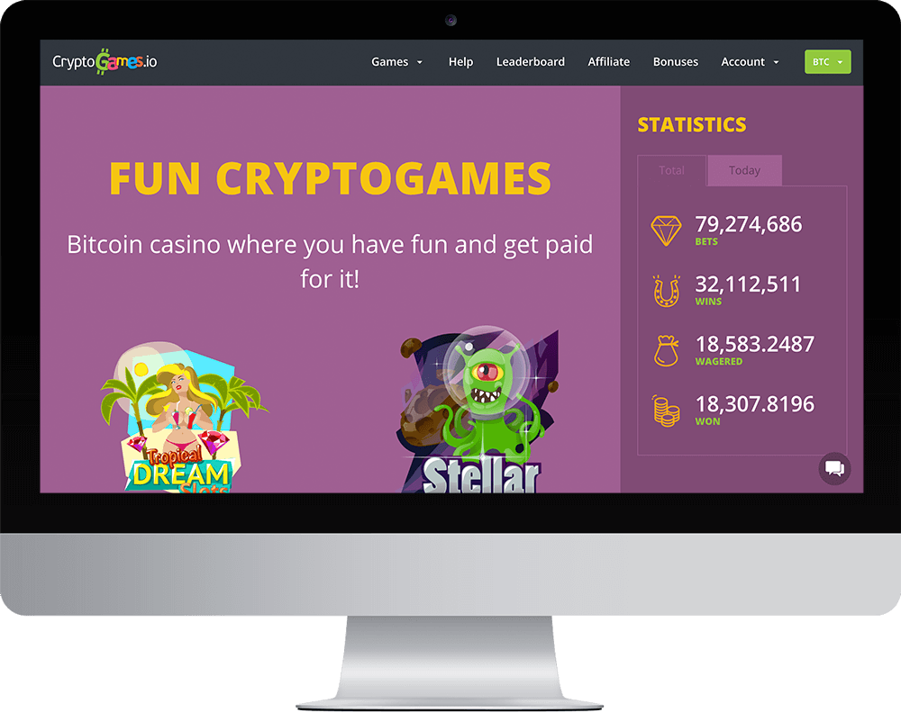 cryptogames.io Casino on desktop