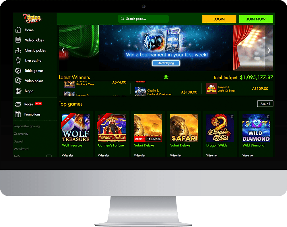 7Spins Casino on desktop