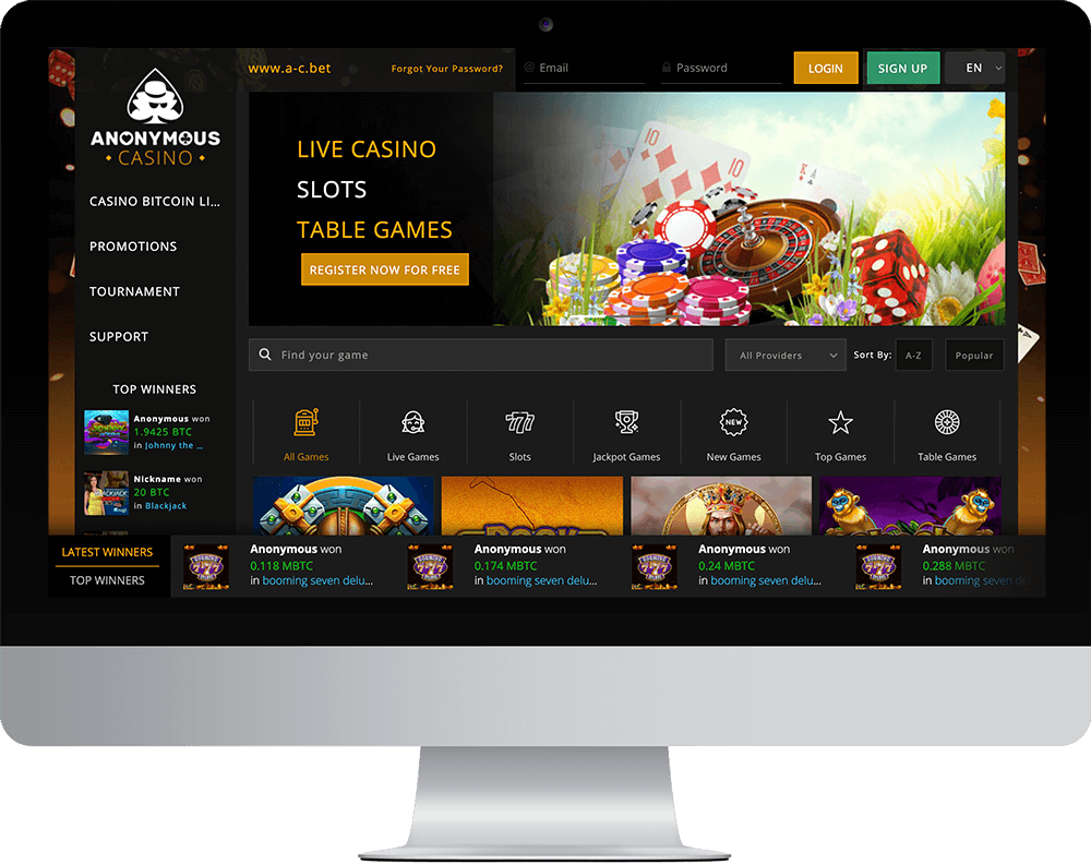 Anonymous Casino on desktop