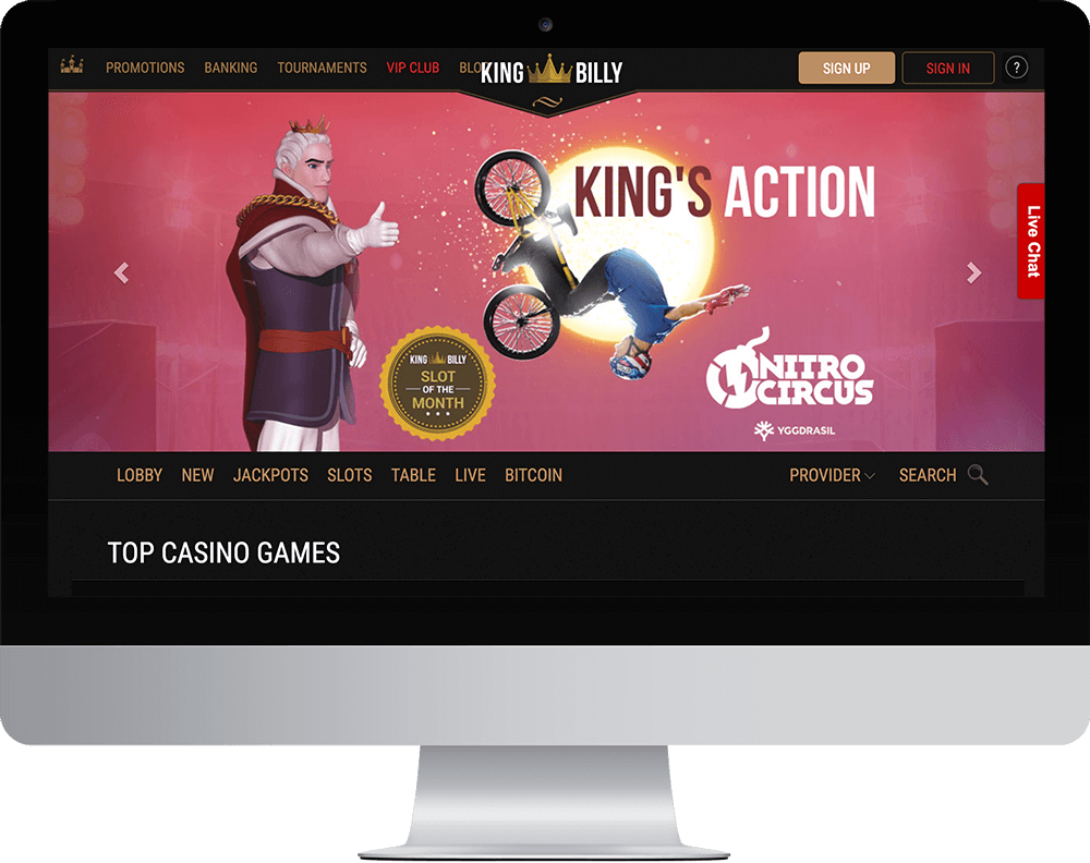 King Billy Casino on desktop