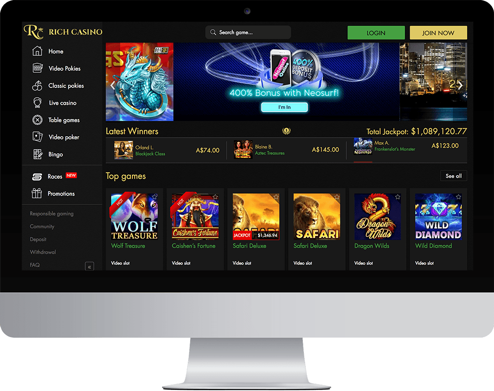 Rich Casino on desktop
