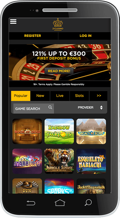 21Casino on Mobile