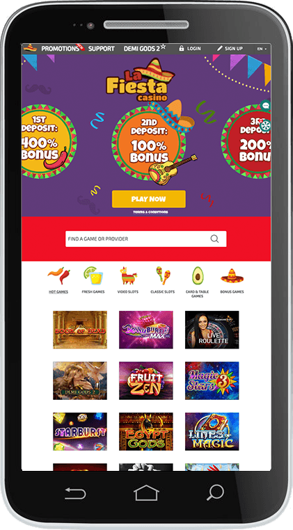 LaFiesta Casino on Mobile