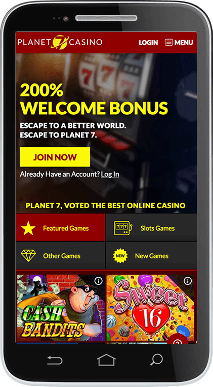 Planet7 Casino on Mobile