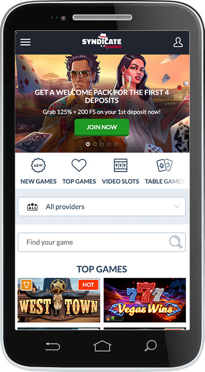 Syndicate Casino on Mobile